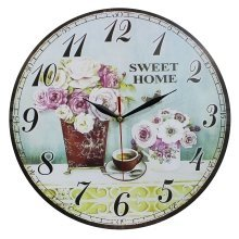 Obique Home Decoration MDF Roses & Sweet Home Scene Wall Clock 34cm