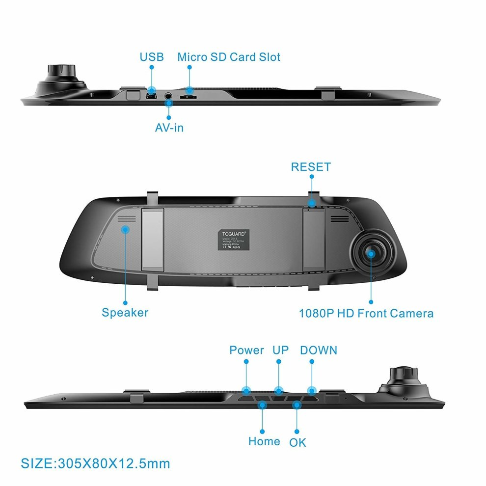 Mirror Dash Cam 4 3 Inch Touch Screen, TOGUARD 1080P Full HD 170° Wide  Angle Front Car Camera Video Recorder and Rear view Backup Camera Dual  Lens