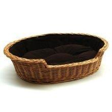 Large Willow Dog Cat Pet Wicker Basket Dark Cushion