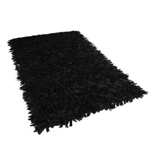 Leather Area Rug 160 x 230 cm Black MUT