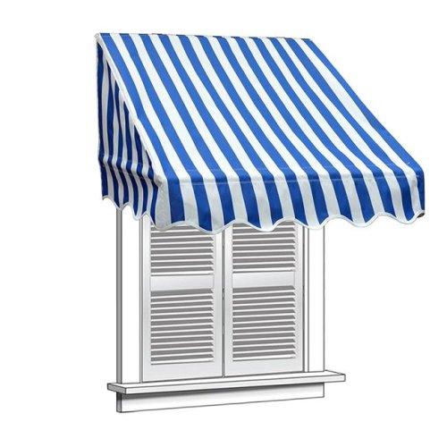 Aleko WAW4X2BWSTR03-UNB 4 x 2 ft. Window Door Canopy Decorator Awning, White & Blue