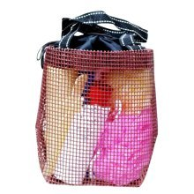 Hiking Quick Dry Mesh Shower Accessories Bag Breathable Bath Tote-Coffee