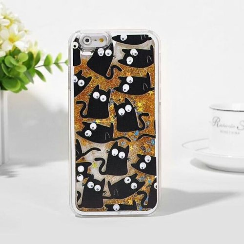 Luxury Black Cats With Gold Glitter Liquid Hard Phone Case Cover