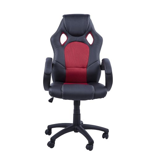 (Black & Red) Homcom PU Leather & Mesh Racing Chair | Swivel Gaming Chair