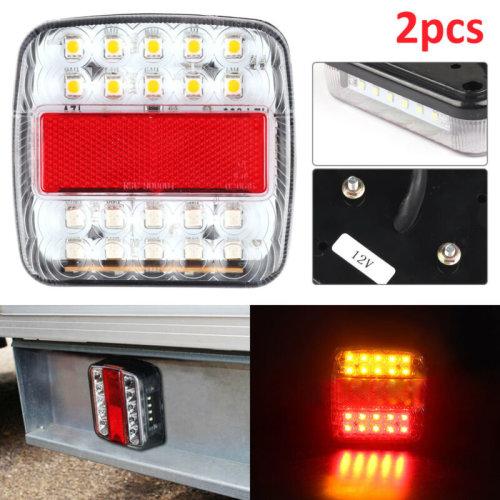 Pair of 12V Rear LED Lights Lamps 5 FUNCTION Trailer Truck Van Caravan E-Mark