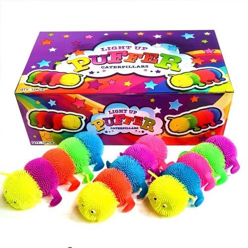 Box of 12 Flashing Squashy Caterpillar Sensory Toys - Fidget Stress Sensory ADHD
