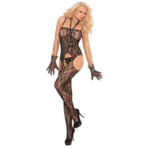 Elegant Moments Lace Suspender Bodystocking Black One Size