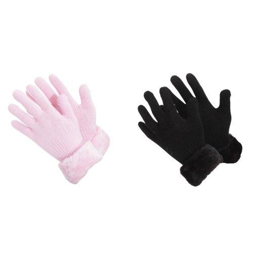 Childrens/Girls Faux Fur Cuff Knitted Winter Gloves