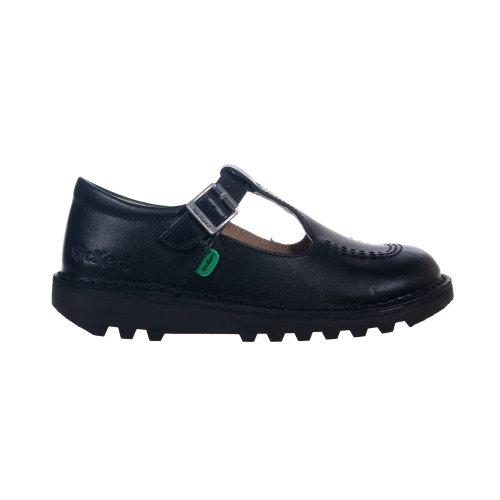 Kickers Kick T Bar Leather Junior Girls Buckle School Shoe Boot Black