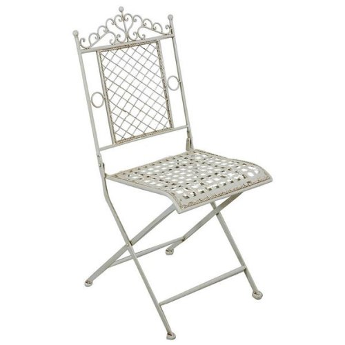 Folding Chair In Wrought Iron Antique White Finish 41x49x96 Cm