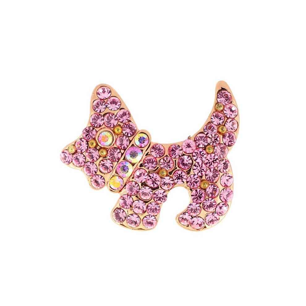 Fantasyard Scotty Dog Pin Animal Brooch Pin - Rose Pink - 0 875 x 0 75 in