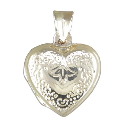 Childrens Sterling Silver Engraved Heart Locket On A Curb Necklace