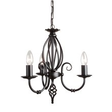 Black 3lt Chandelier - 3 x 60W E14 by Happy Homewares