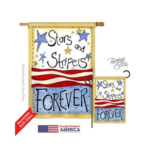 Breeze Decor 11005 Patriotic Stars & Stripes 2-Sided Vertical Impression House Flag - 28 x 40 in.