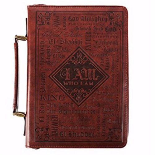 Names of God Brown Lux-Leather Bible Cover - Large