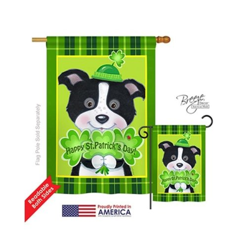 Breeze Decor 02029 St Pats Puppy 2-Sided Vertical Impression House Flag - 28 x 40 in.