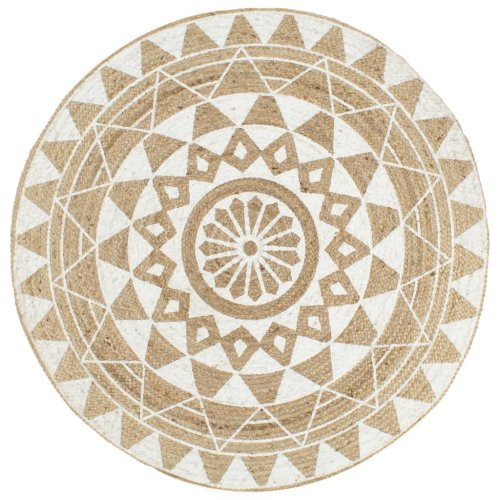 vidaXL Handmade Rug Jute with White Print 150cm Room Floor Protector Carpet