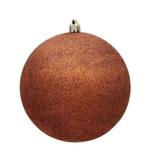 Vickerman N591088DG 4 in. Copper Glitter Christmas Ornament Ball - 6 per Bag