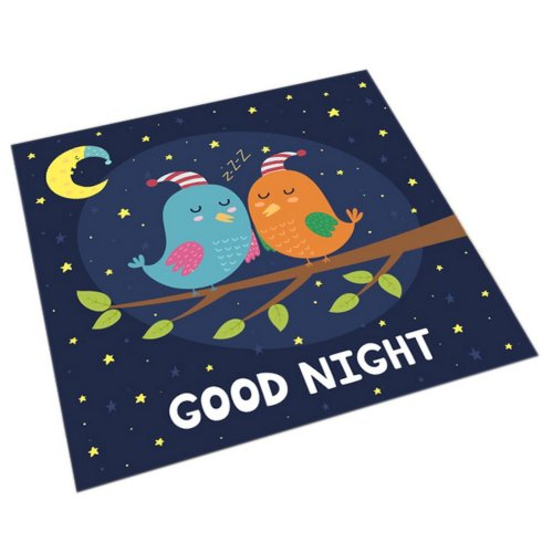 Square Cute Cartoon Children's Rugs, Good Night Cartoon Love Birds