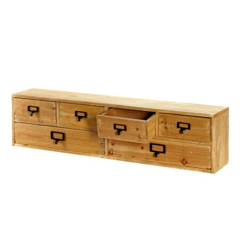 Wide Wooden 6 Drawers Cabinet Storage Organizer Wall Hanging Wood Unit