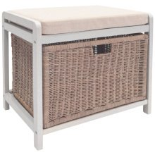 WICKLOW - Laundry Hamper / Storage Stool / Hallway Shoe Bench - White / Cream