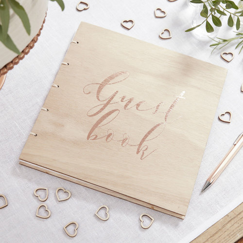 Rose Gold Wooden Guest Book - Beautiful Botanics Wedding Range