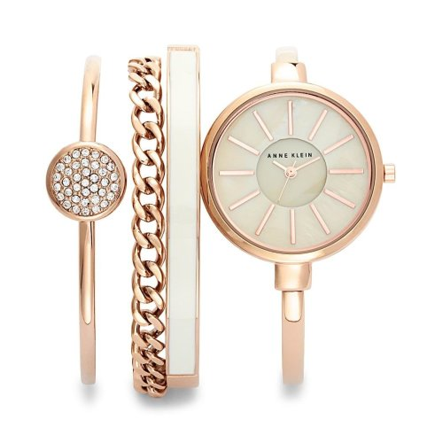 Anne Klein Rose Gold-Tone Watch & Bracelet Set