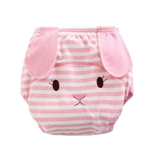 Set of 2 Well Design Pink Strip Baby Diapers Rabbit Cartoon