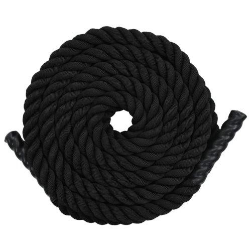 vidaXL Battle Rope 12m Polyester Black Battling Sport Gym Exercise Fitness