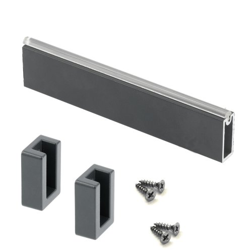 WARDROBE RAIL SQUARE DARK GRAY HANGING RAIL 2300MM END SUPPORTS & SCREWS