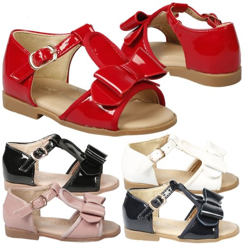 Lilian Girls Kids Toddlers Baby T Bar Peep Toe Bow Sandals