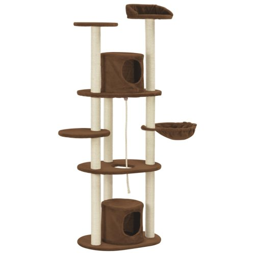 vidaXL Cat Tree with Sisal Scratching Posts Brown 160cm Kitten Play Tower