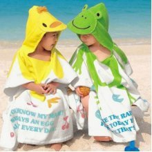 Baby Kids Cute Animal Design Cotton Hooded Bathrobe Towels Soft & Comfortable