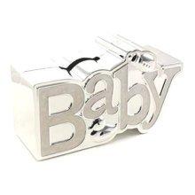 Baby Gift Christening Gift Cream Silver Plated Baby money Box Gift