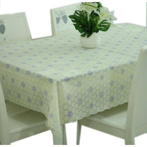 Linen Tablecloth 137*80 cm Rectangular Tablecloth Beige & Purplish Blue