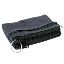 Unisex Small Leather Coin Purse | Triple Zip Black Wallet