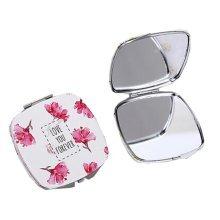 One Portable Princess Mirror Vanity Mirror Little Makeup Mirror 6.5x6.5x1CM (Azalea)