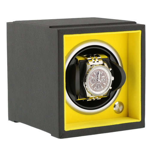 Watch Winder Larger Wrist Sizes Soft Touch Yellow Inner by Aevitas