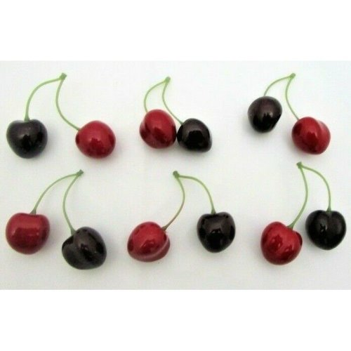 Set of 6 Bunches of 2 Artificial Cherries - Decorative Fake Fruit Red Cherry