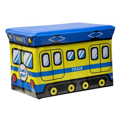 Kids Blue & Yellow Train Toy Storage Ottoman Play Chest Bedroom Seat Stool