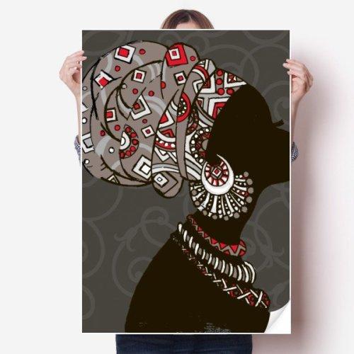 """African Black Women Aboriginal Headdress Sticker Poster Decal 31x22"""""""