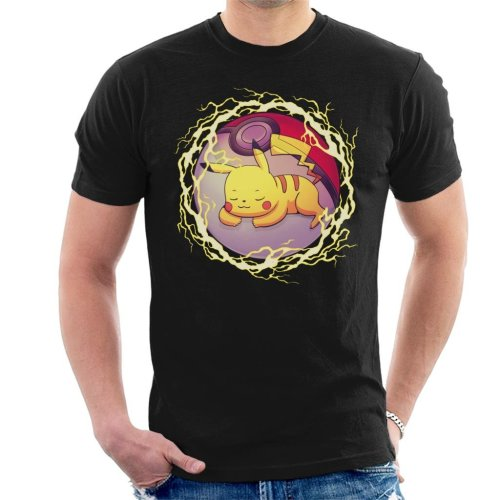 Pikachu Hidden Thunder Ball Pokemon Men's T-Shirt