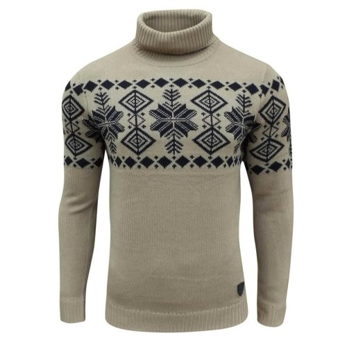 Soul Star Men's Boatsman Nordic Roll Neck Jumper Taupe Small