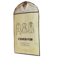 Set of 5 Storage Garment Shoulder Covers Suit Dust Covers Hanging Coat Pockets 60x90CM (Beige)