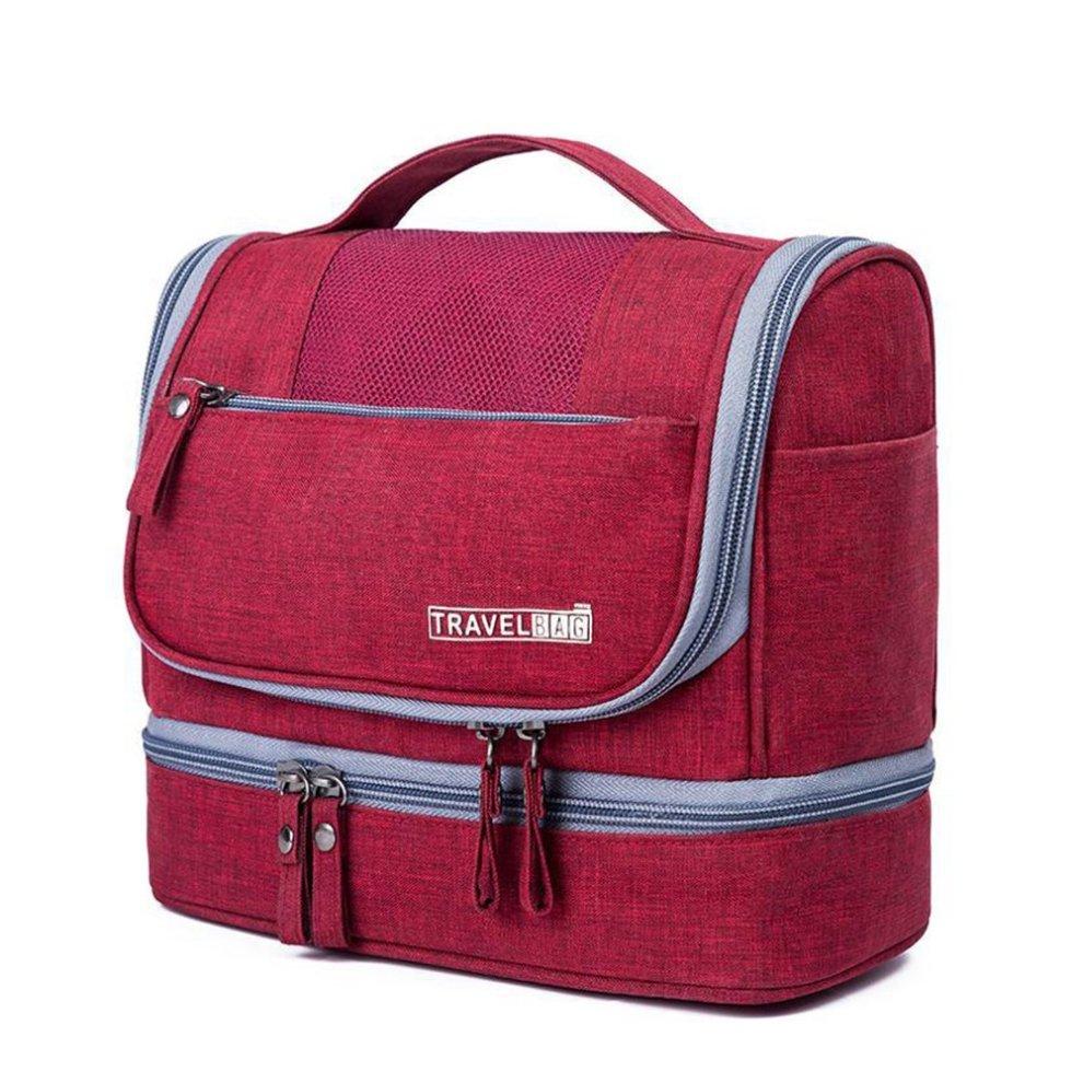 070b9d6ecf43 Travel Wash Bag Hanging Toiletry Bag Organiser Overnight Gym Shaving  Folding Bag Travel Makeup Organiser Portable for Men Women (Red)