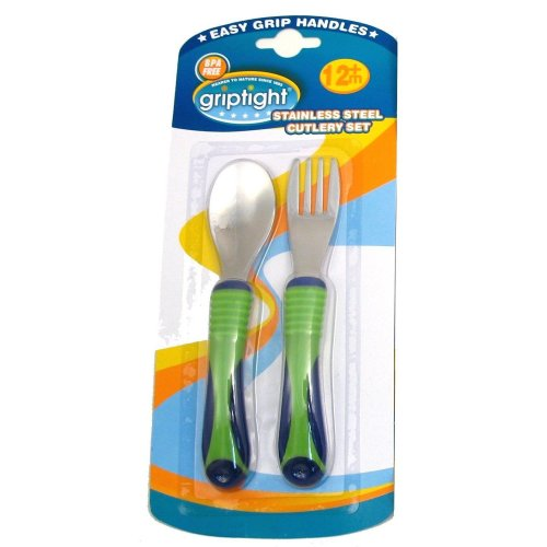 Griptight - Easy Soft Grip Stainless Steel Cutlery Set (Green/Purple)