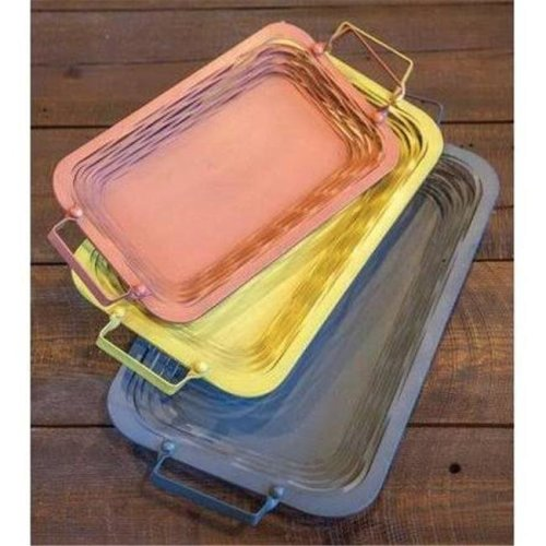 Manual Woodworkers & Weavers IMTRTY 18 x 9.75 x 3 in. Metal Tray, Assorted - Set of 3