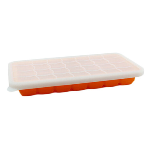 Safe And Soft Silicon Ice Cube Tray With Silicon Lid, Orange