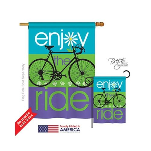 Breeze Decor 09040 Sports Bike Ride 2-Sided Vertical Impression House Flag - 28 x 40 in.