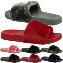 Romy Womens Slip On Fur Trim Flat Peep Toe Sandals